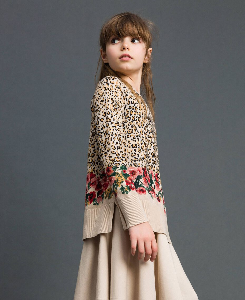 Floral and animal print jumper Leopard Print / Floral Child 192GJ3181-02