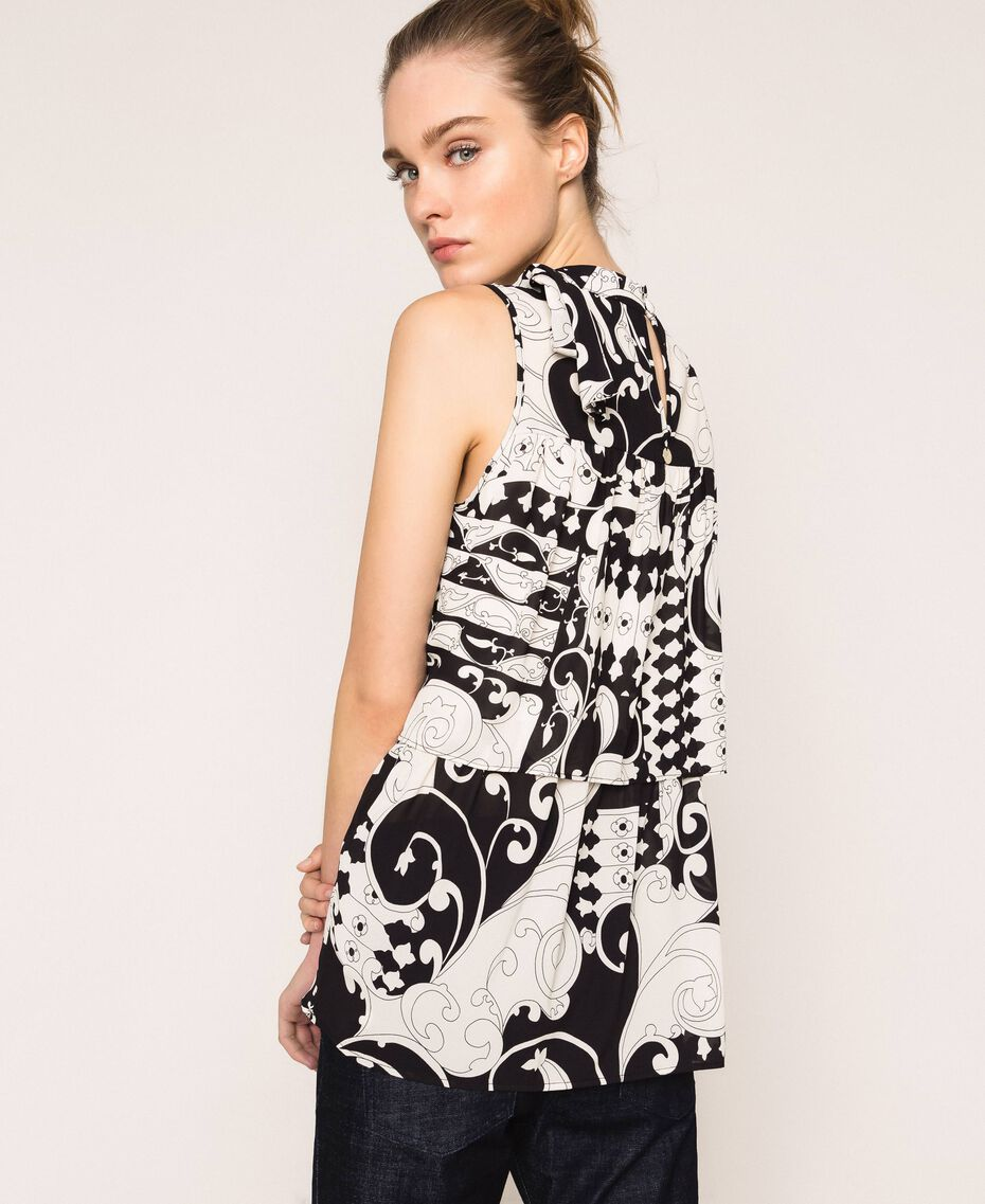 Printed georgette top with flounces White Liberty Print / Black Woman 201ST213F-03