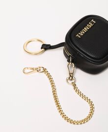 Faux leather keyring with chain Titanium Gray Woman 201TA7167-01