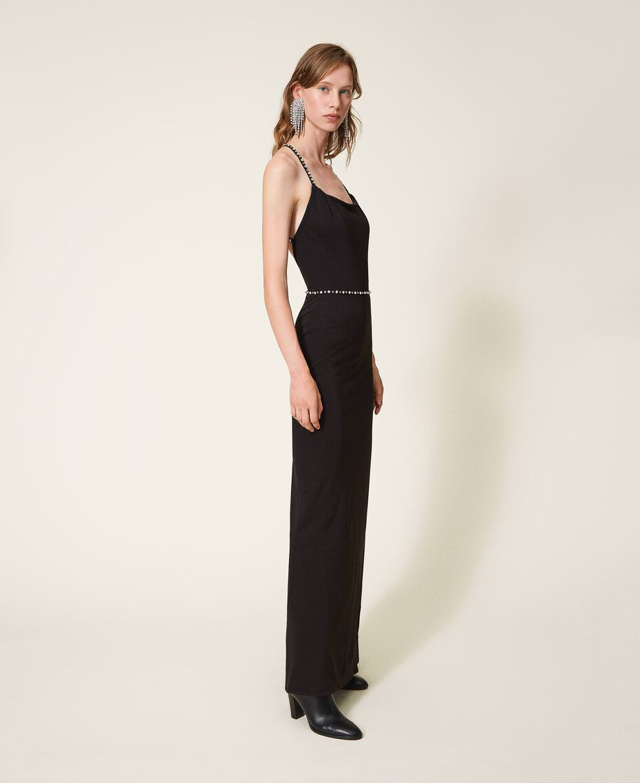 Long dress with embroidery Black Woman 202TP2404-03