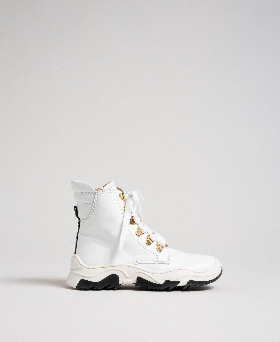 Sneakers alte in pelle con allacciatura trekking Bianco Bambina 192GCJ022-02