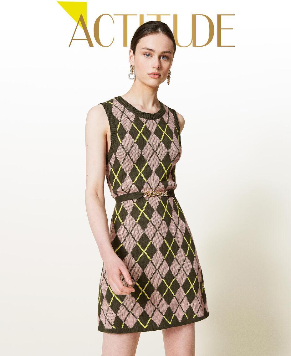 Robe jacquard «Coltan» à carreaux Multicolore Vert «Amazonie» / Rose «Wood Rose» Femme 212AP3234-01