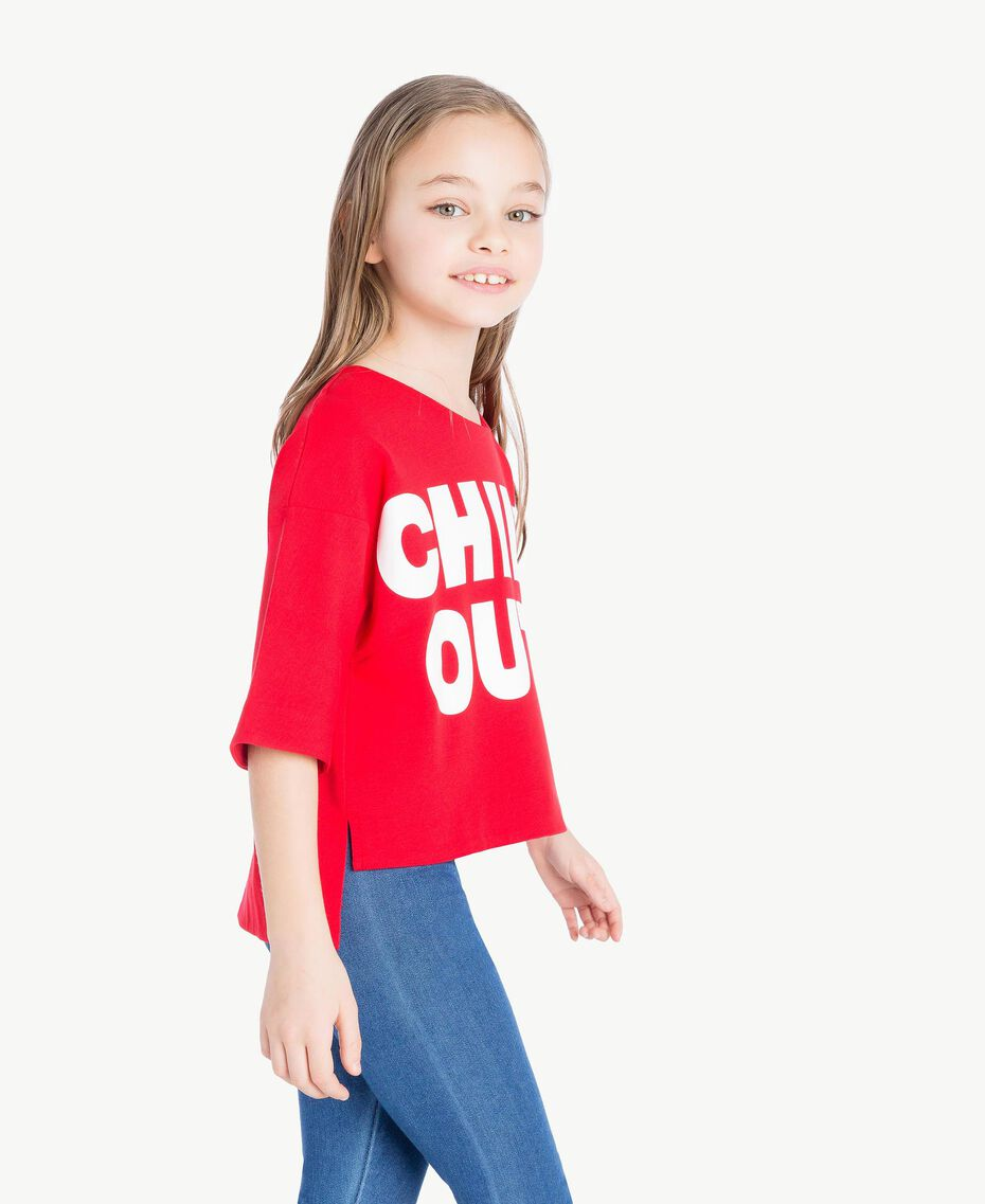 "Printed sweatshirt Two-tone Pomegranate Red / ""Papyrus"" White Child GS82KA-03"