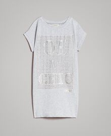 Minirobe en molleton stretch avec strass Gris clair chiné Enfant 191GJ2463-01