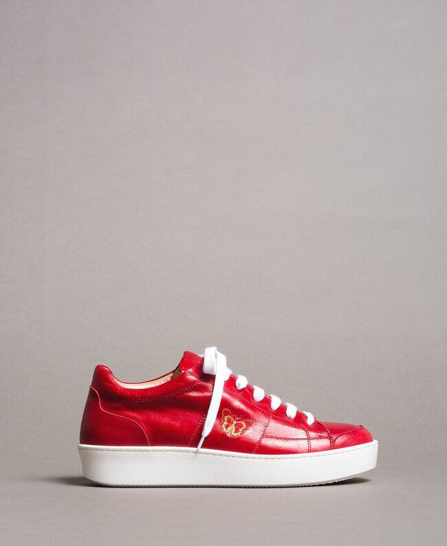 """Sneakers in pelle con ricamo a farfalla Rosso """"Lipstick Red"""" Donna 191TCT09Y-03"""