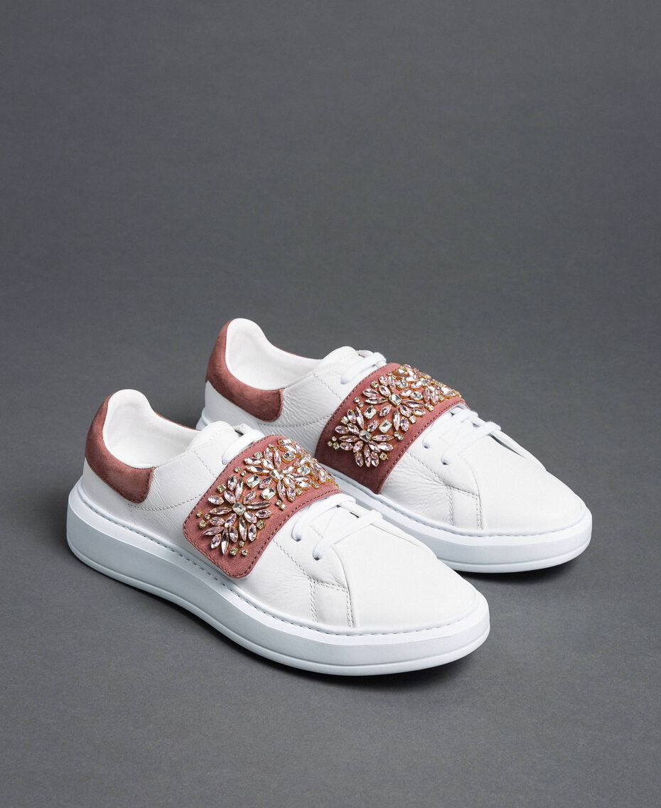 "Leather trainers with rhinestones ""Optical"" White/ ""Nude Pink"" Woman 192TCT110-01"