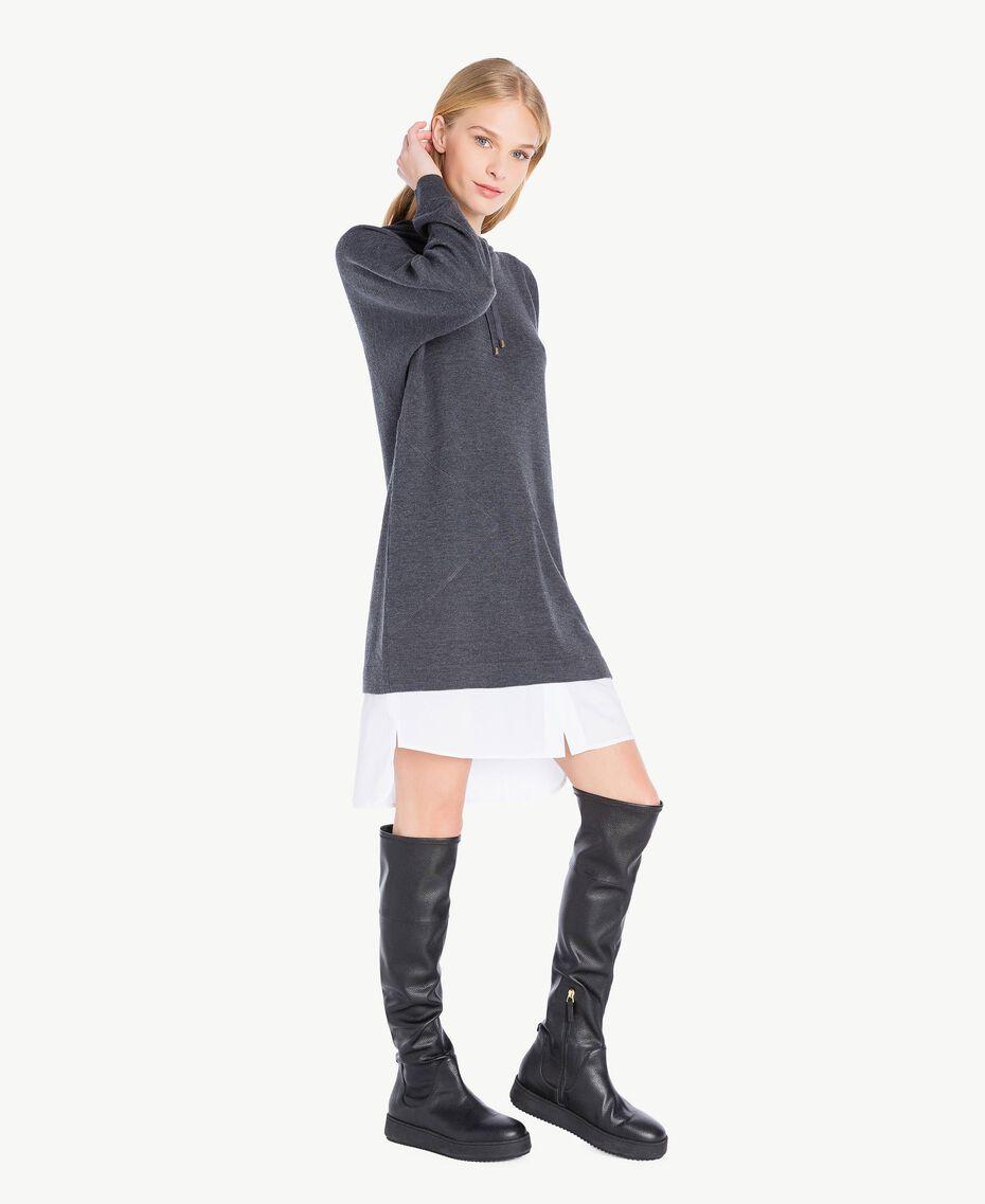 Wool dress Dark Melange Grey / Optical White Female TA73DE-02