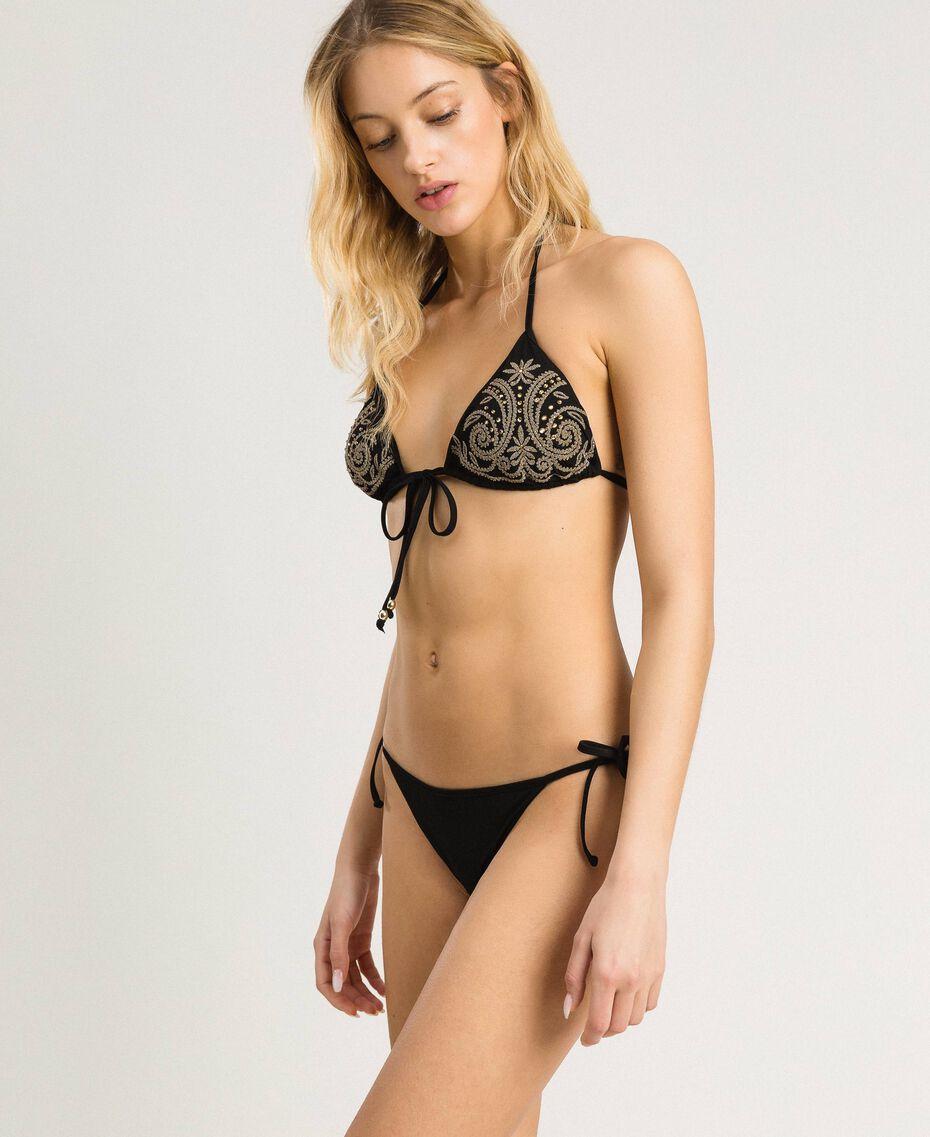 Bikinitanga mit Schnürung Schwarz Frau 191LMMR88-02