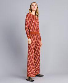 """Pantaloni jacquard a righe lurex multicolor Jacquard Riga Lurex Arancione """"Bruciato"""" Donna TA838A-01"""
