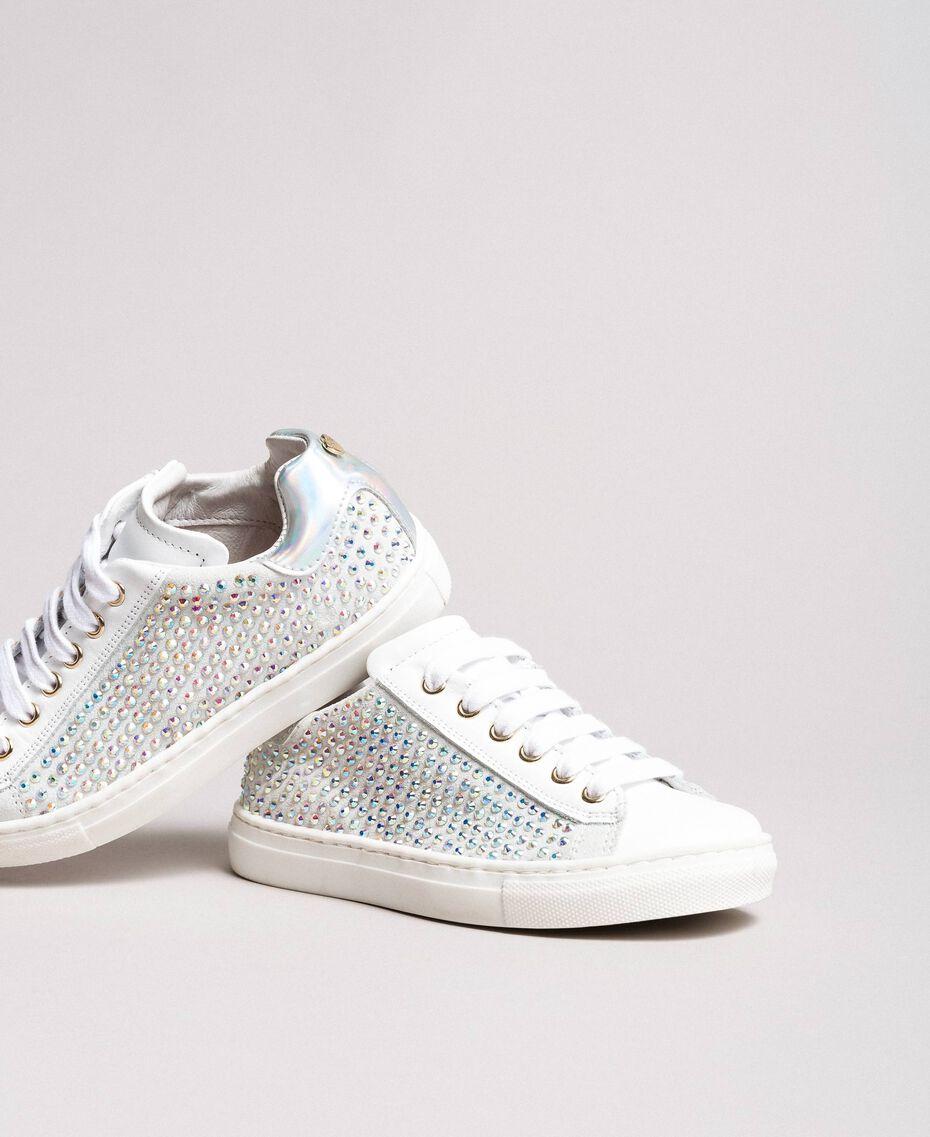 Rhinestone leather sneakers Pale Cream Child 191GCJ070-01
