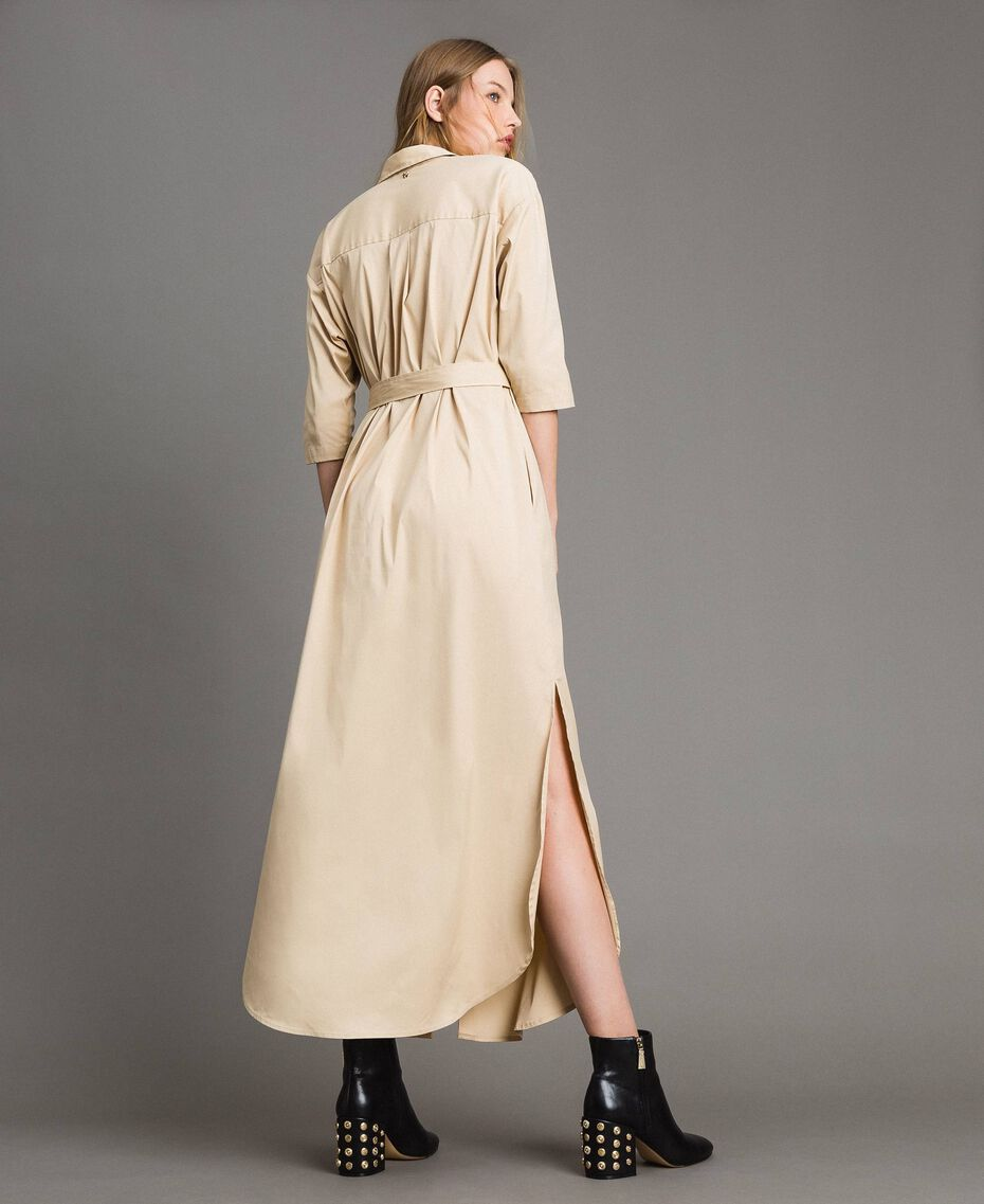 Langes Hemdblusenkleid aus Popeline Porzellan Beige Frau 191MP2210-05