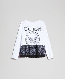 Printed T-shirt with lace Optical White / Black Child 192GJ2393-0S