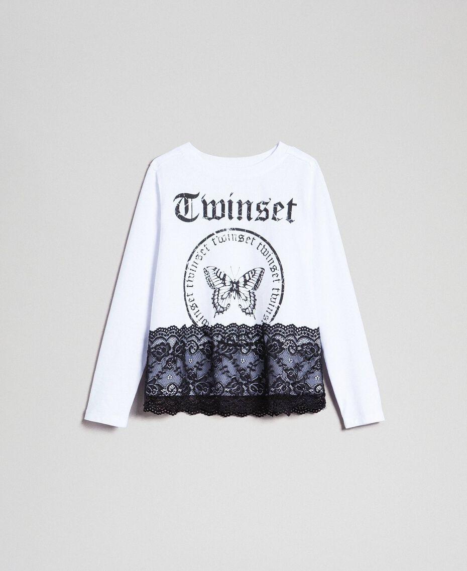 T-shirt avec imprimé et dentelle Blanc Optique / Noir Enfant 192GJ2393-0S