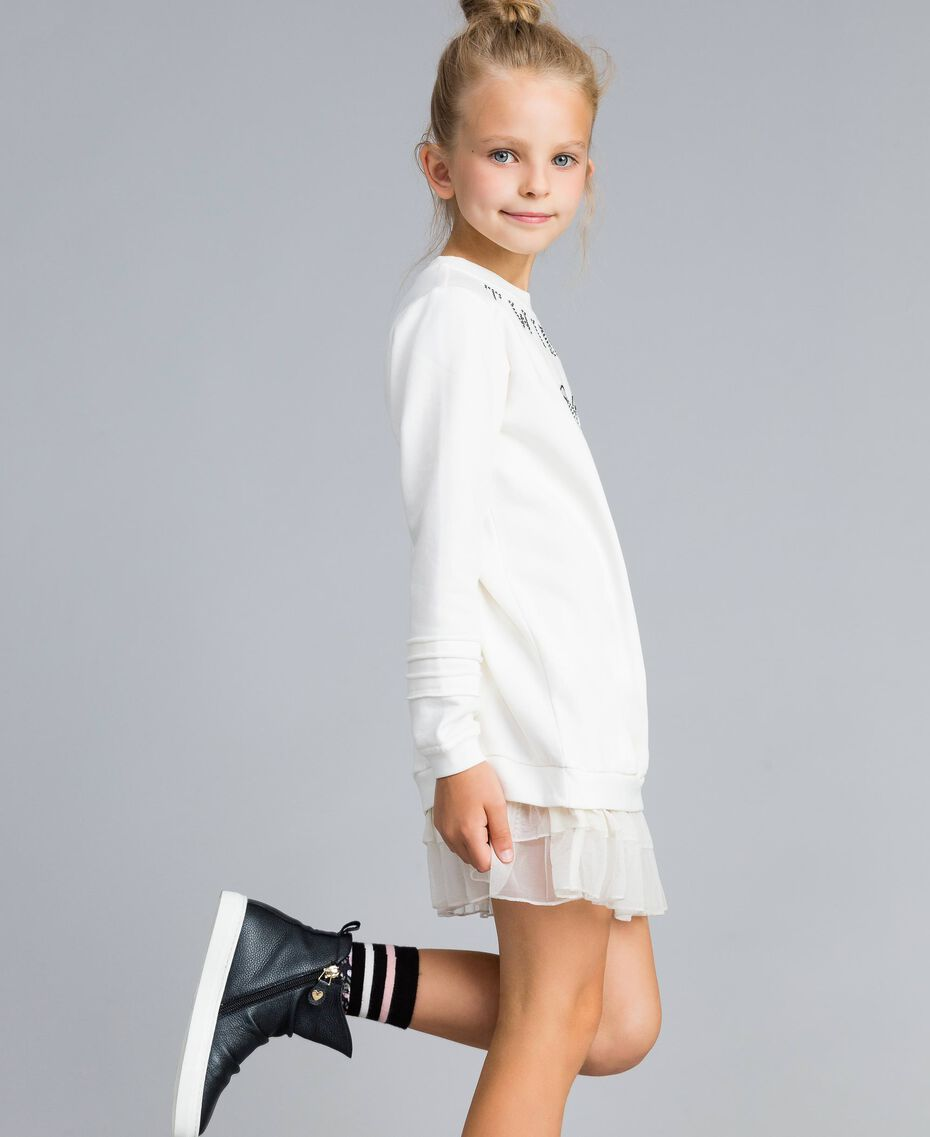Maxi sweat en viscose avec perles et tulle Off White Enfant GA82U1-02