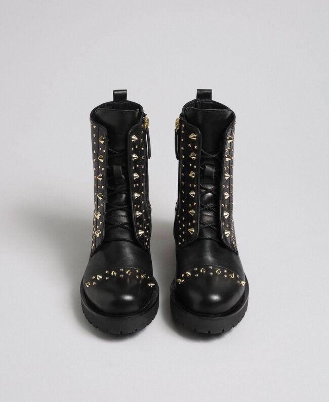 Leather combat boots with studs Black Woman 192TCP018-05