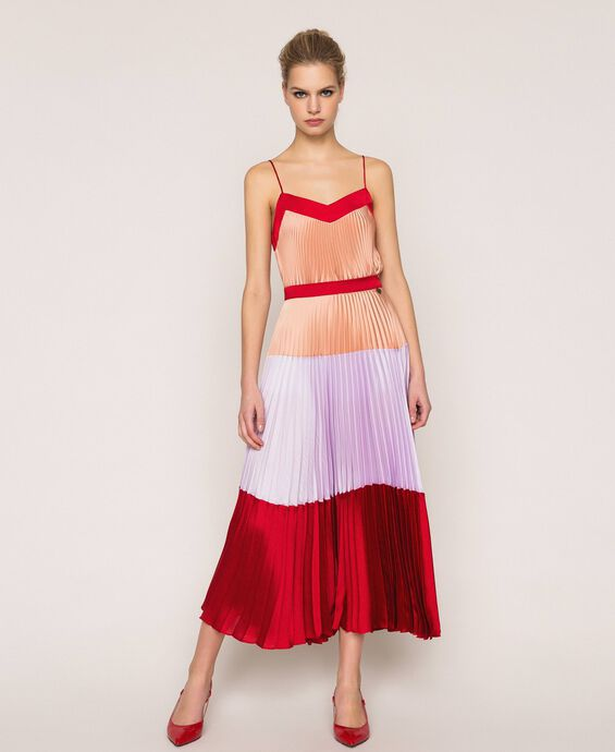 Pleated long satin skirt