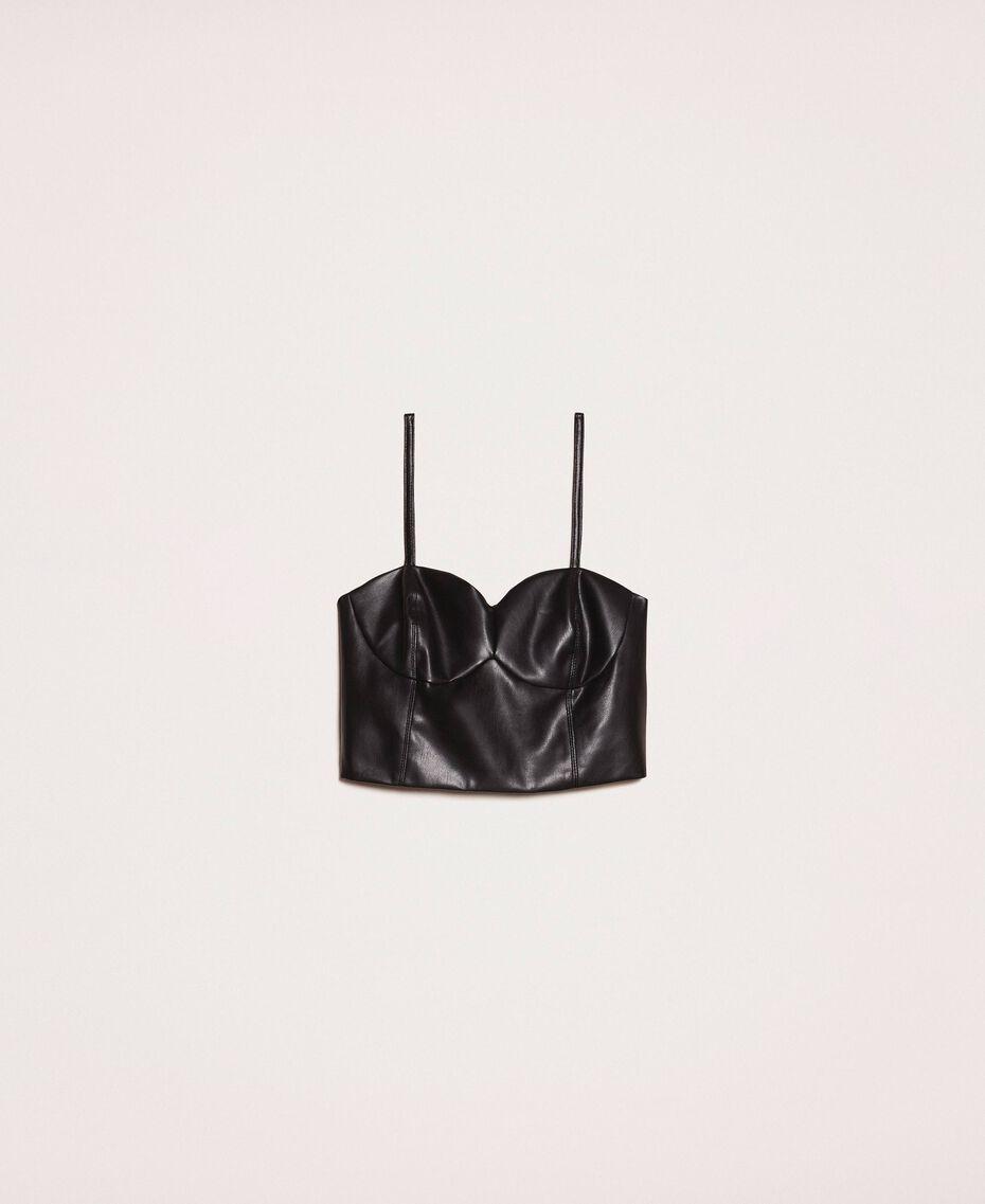 Faux leather bustier top Black Woman 201MP2045-0S