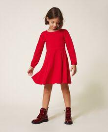 Robe avec plis et satin Rouge Cerise Enfant 202GJ2153-01