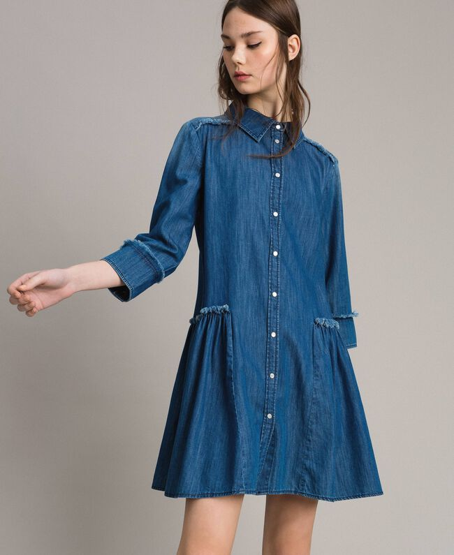 bdbf2adf7d0fd Robe chemise évasée en denim Bleu Denim Femme 191MP2412-02