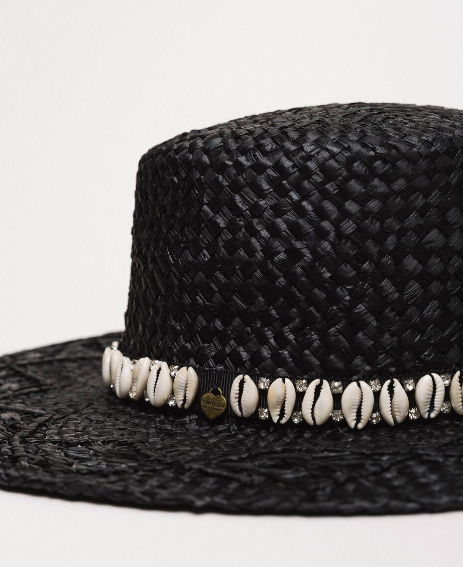 Соломенная шляпа с ракушками и стразами Черный женщина 201TO5401-02