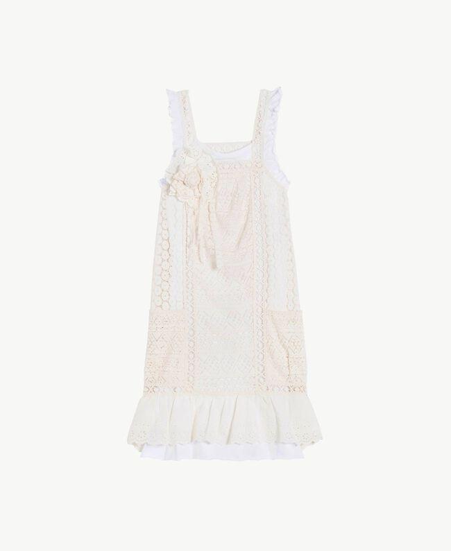 Kleid mit Spitze Zweifarbig Papyrusweiß / Chantilly Kind GS82Z3-01