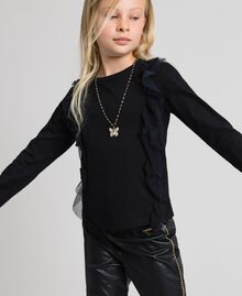T-shirt con volant in tulle e collana Nero Bambina 192GJ2433-01