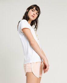 """Pyjama court avec papillon pailleté Bicolore Blanc Optique / """"Bouquet Rose"""" Femme 191LL2GEE-02"""