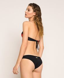 Printed Brazilian bikini bottom Black Rose Print Woman 201LBM877-03