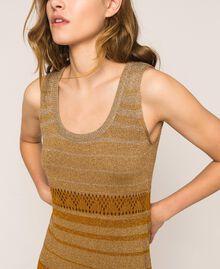 Vestido largo de tejido de lúrex de rayas Rayas Multicolor Oro Mujer 201TT3091-05