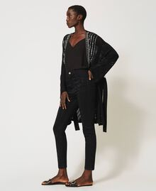Crochet cardigan with embroidery Black Woman 211TT3101-05