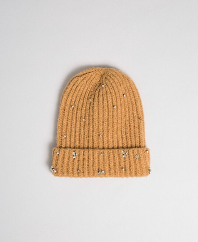 Knit beret with logo and bezels Camel Woman 192TO5360-01