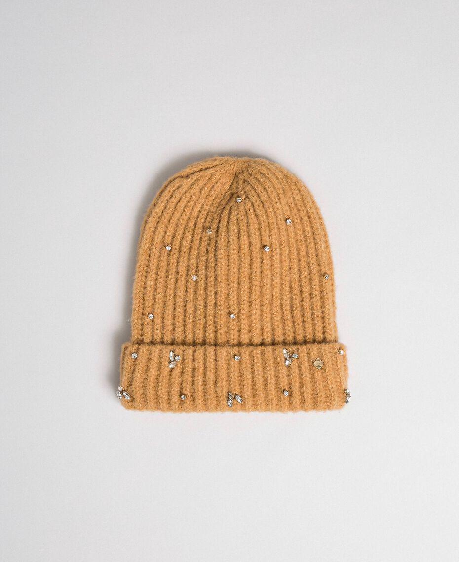 Вязаная шапочка с шатонами и логотипом Верблюжий женщина 192TO5360-01