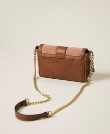 Suede and smooth leather small Rebel shoulder bag Multicolor Nude / Cherry Red / Leather Brown Woman 202TB7053-04