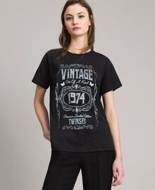 Washed T-shirt with print Black Woman 191TT2490-02