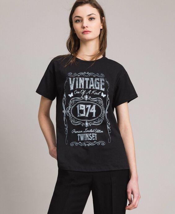 T-shirt délavé con stampa