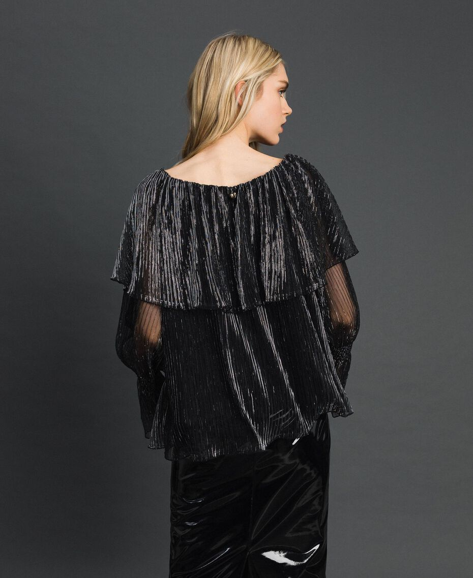 Metal creponne tulle blouse Black / Silver Woman 192MT2142-03