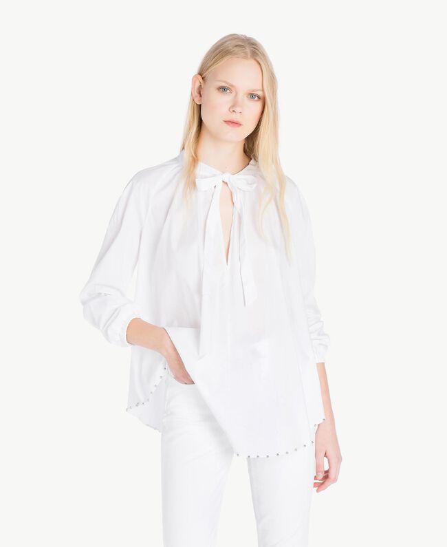 Bluse mit Schleife Weiß Frau JS82DE-01