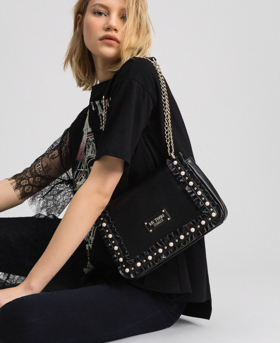 Shoulder bag with flounce and pearls Black Woman 192MA7063-0S
