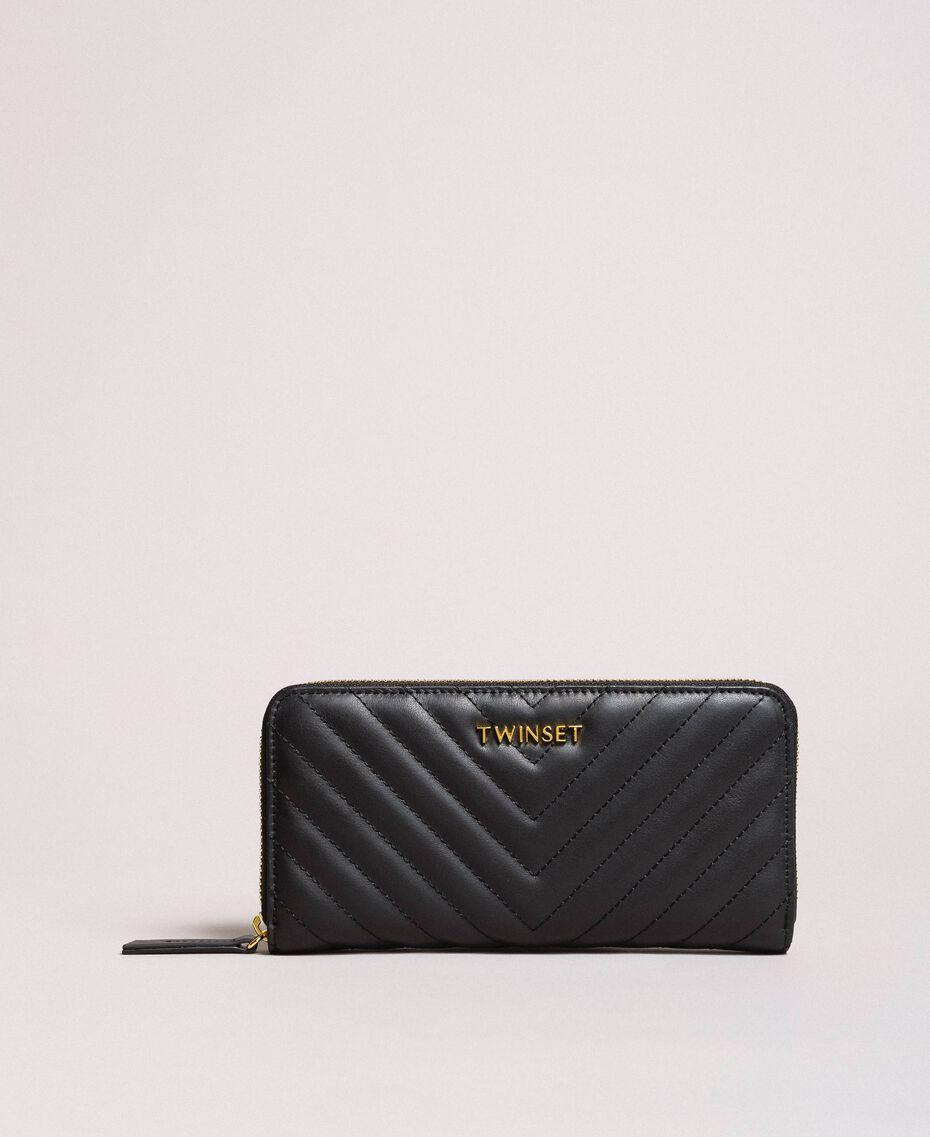 Portefeuille en cuir matelassé Noir Femme 191TA7198-02