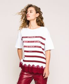 Oversize striped T-shirt with logo and lace Optical White / Crimson Red Woman 201ST2165-02