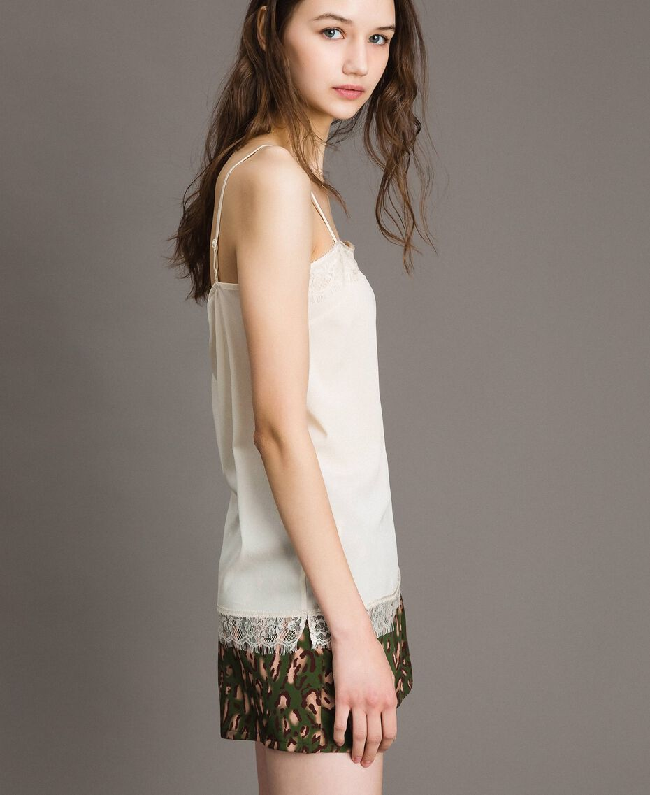 "Crêpe de Chine top with lace ""Shell"" Beige Woman 191MT2450-02"