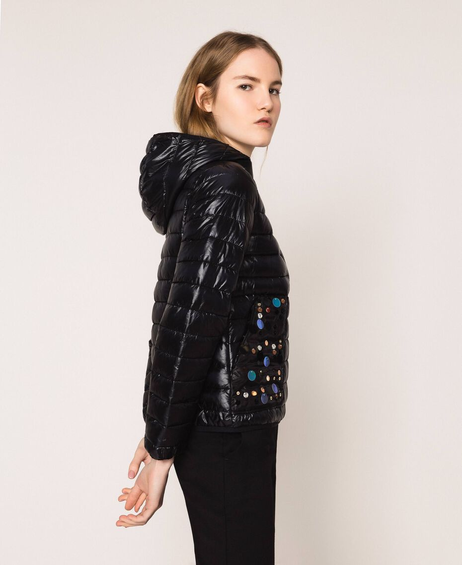 Ultralight puffer jacket with sequins Black Woman 201ST2120-02