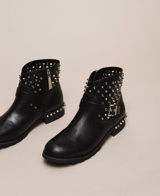Biker boots with rhinestones and logo Black Woman 201MCP040-01