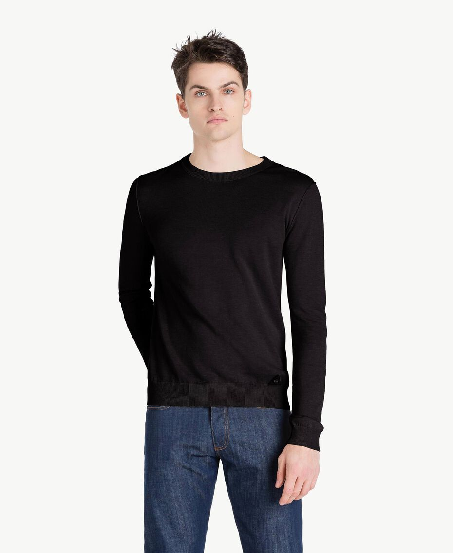 Pullover aus Baumwolle und Kaschmir Schwarz Mann US831B-01