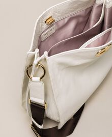 Leather hobo bag with heart White Snow Woman 201TA7050-04