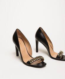 Sandales avec talon stiletto et pierres Noir Femme 201TCP090-01