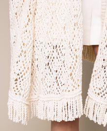 Кардиган-пончо из кружева кроше с бахромой Белый Antique White женщина 201TT3101-05