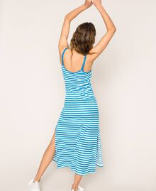 "Striped terry cloth long dress Two-tone ""Bay"" Blue / Optical White Woman 201LM2LQQ-03"
