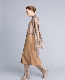 Camicia in chiffon di seta animalier Stampa Camel Snake Donna PA829D-0T