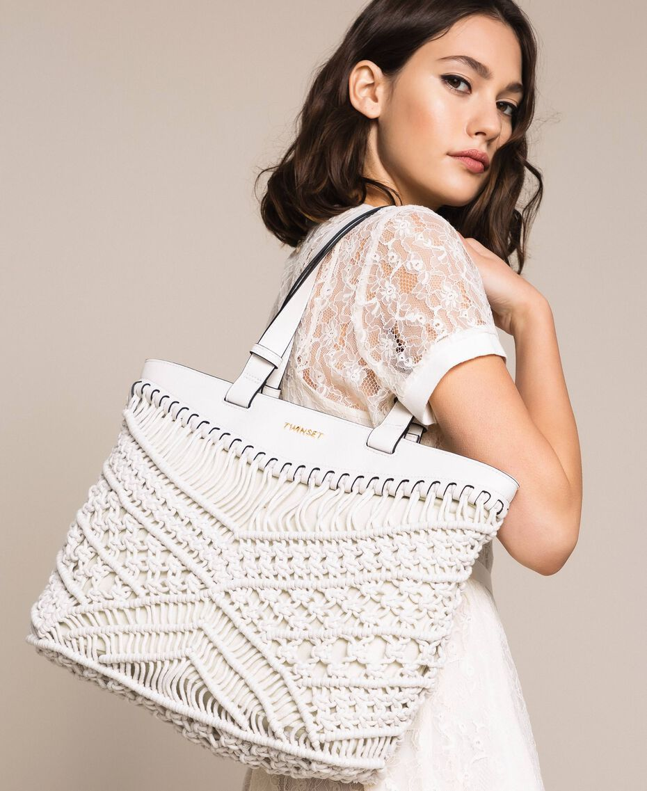 Borsa shopper in crochet Bianco Antique White Donna 201TO8130-0S